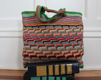 390ee1f85b Vintage Rainbow Multicolored Small Striped Hand Knit Top Handle Purse