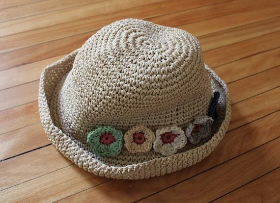 Vintage 90s Natural Straw Flower Summer Hat - image 4