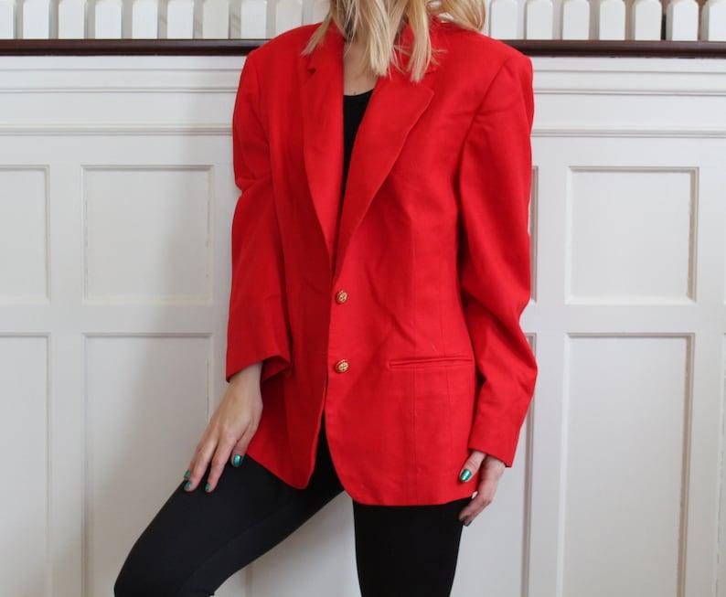 Vintage Pendleton Red Wool Long Gold Button Up Oversized Boyfriend Blazer Women/'s Size L