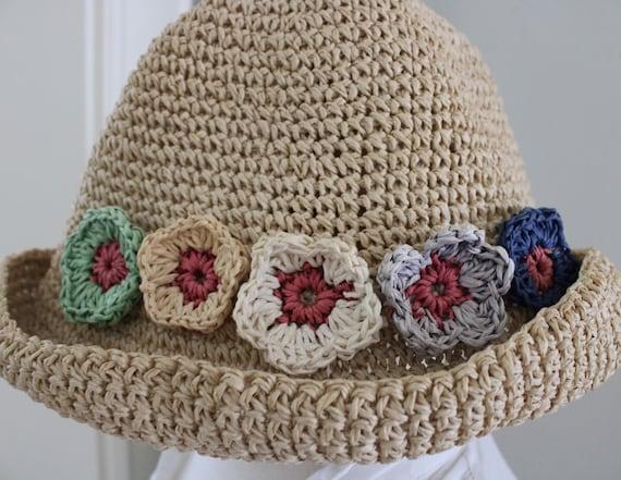 Vintage 90s Natural Straw Flower Summer Hat - image 3