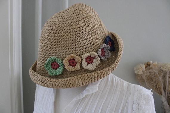 Vintage 90s Natural Straw Flower Summer Hat - image 2