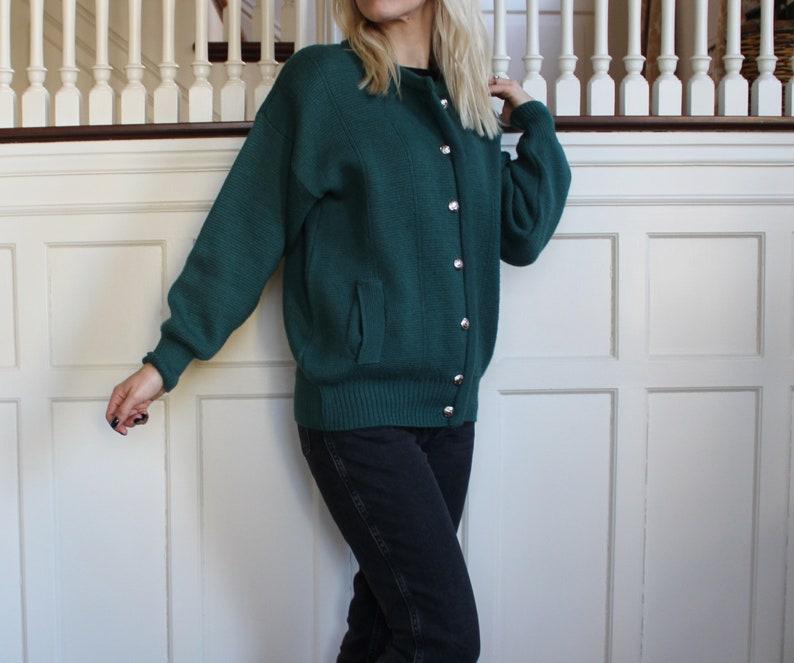 Vintage Teal Green Wool /& Cotton Blend Scottish Cardigan Sweater Women/'s Size S M