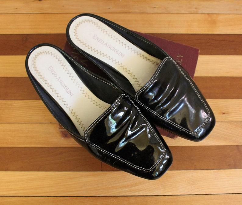 67823bcaf6048 Vintage Enzo Angiolini Black Patent Leather Slip On Square Toe