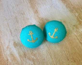 Turquoise with Gold Anchor Button Earrings