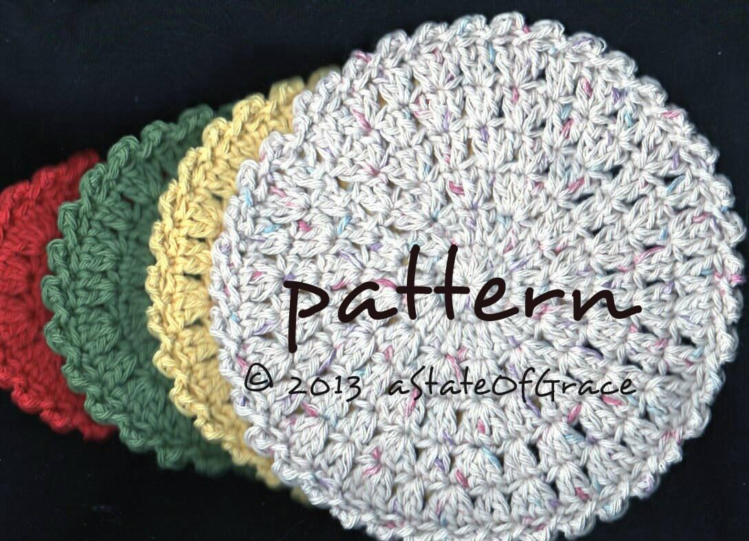 Round Dishcloth PATTERN 4 Sizes Washcloth Hot pad Doily | Etsy