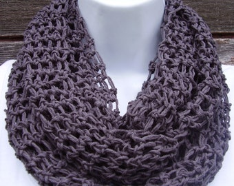 Infinity Scarf, Dark Charcoal Grey, Cotton and Acrylic Blend, All-Season Scarf, 84 inches Long