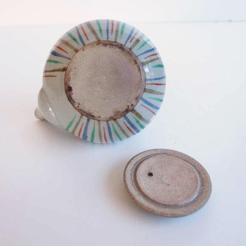 Handmade Green Tea Vintage Japanese Traditional Crafts. Striped Colorful Japanese Ceramic Tea Pot Pottery Kyusu Ceramics Pottery