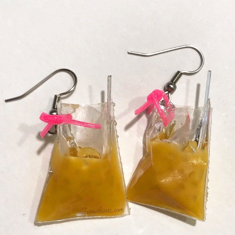 Coffee in Bag Earrings  stainless steel metal earring hooks image 0
