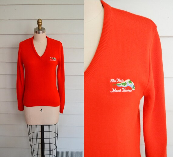 vintage 1950s 1960s V neck golf sweater / Small Me