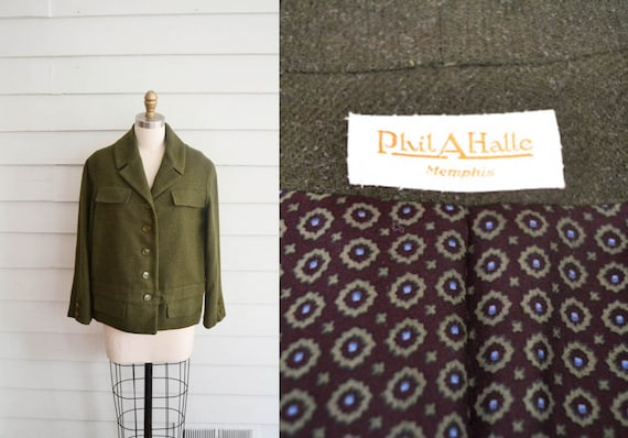 vintage 1950s or 1960s wool jacket / Small Medium