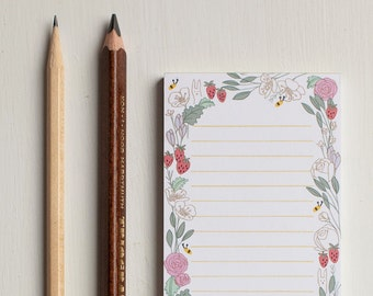 Illustrated Floral Notepad To-Do List, Lined