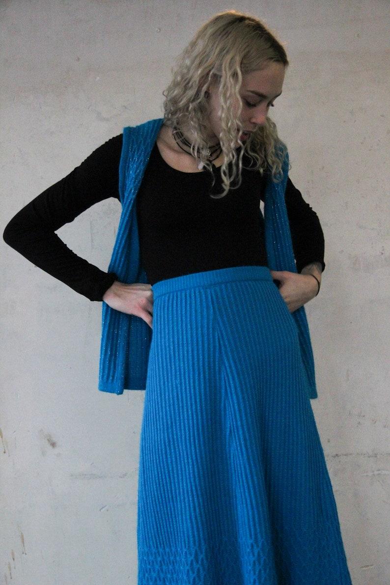 70s knit two-piece Skirt /& Vest S