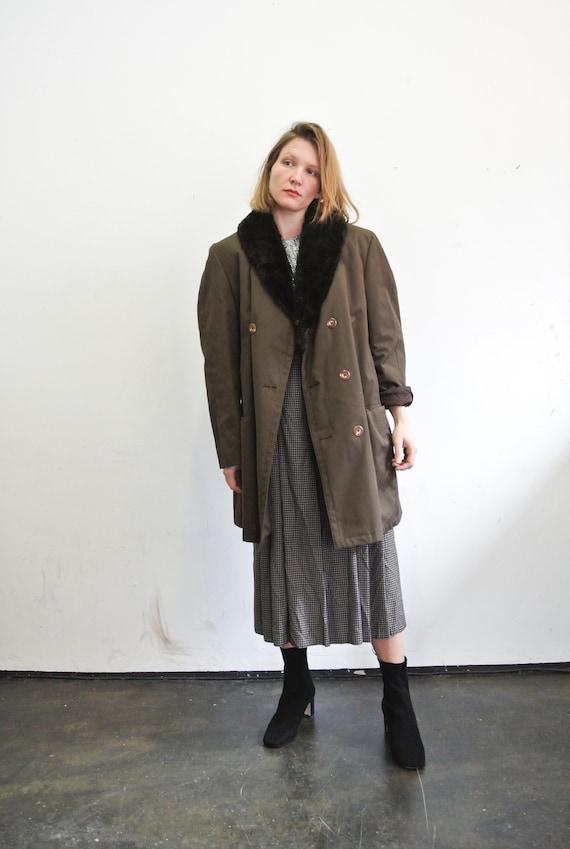 80s parka coat / fake fur, men: M
