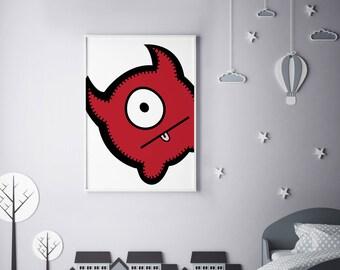 "Monster Poster Print Wall Art by BABUA – ""Nicholas"" | A4 A3"