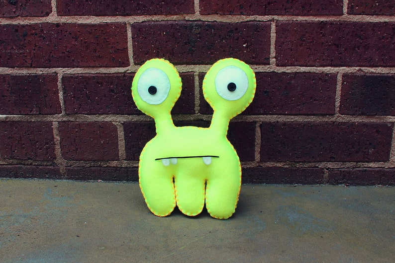 Frank  Fluro Yellow Felt Monster Soft Toy image 0