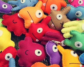 Mini Felt Monster Plush Keyrings & Party Favors by BABUA - 10 Random Keyrings