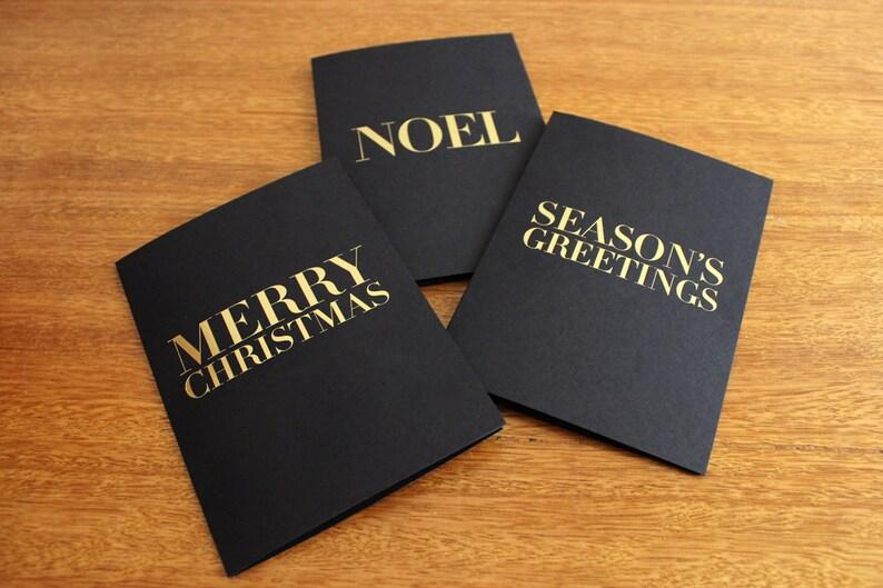 3 x Elegant Gold Foil Black Christmas Cards & Envelopes image 1