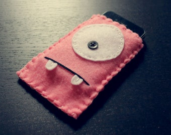 Felt Monster Phone or iPod Sock/Cover by BABUA - Baby Pink