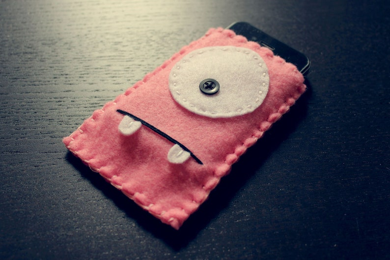 Felt Monster Phone or iPod Sock/Cover by BABUA  Baby Pink image 0