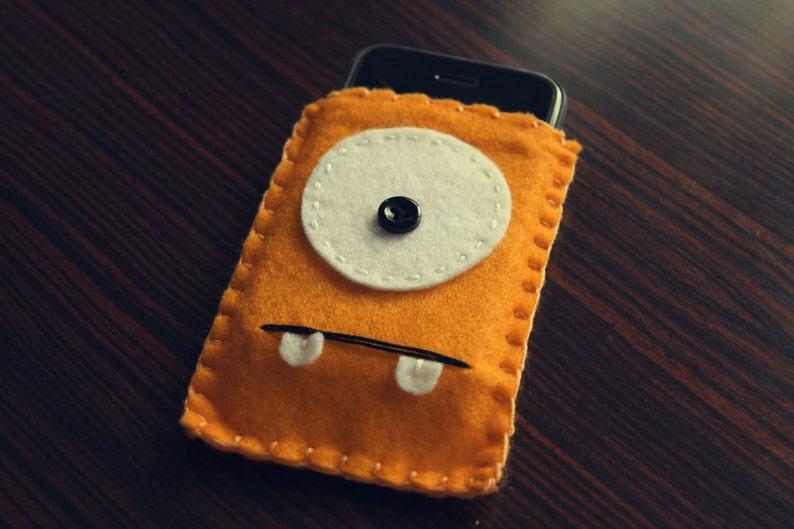 Felt Monster Phone or iPod Sock/Cover by BABUA  Fluoro Orange image 0