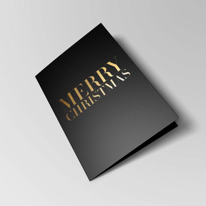 Elegant Gold Foil Black Christmas Card & Envelope  image 0