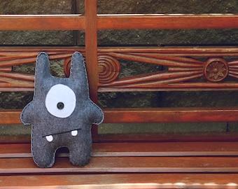 Max - Blue-Grey Felt Monster Soft Toy
