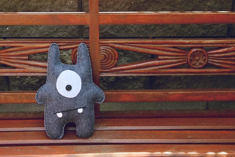Max  Blue-Grey Felt Monster Soft Toy image 0