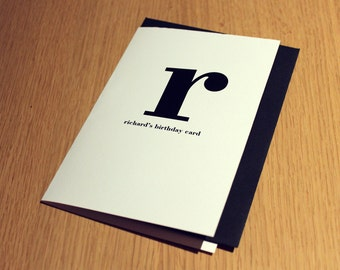 Personalized Birthday Card - Contemporary Minimalist - Name & Letter on Front