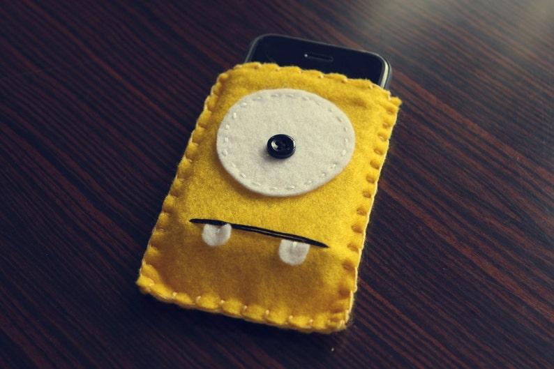 Felt Monster Phone or iPod Sock/Cover by BABUA  Yellow image 0