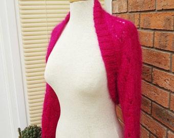 Knitted Bolero, Women Handknited Mohair Bolero, Lace Mohair Bolero, Shrug in Hot Pink