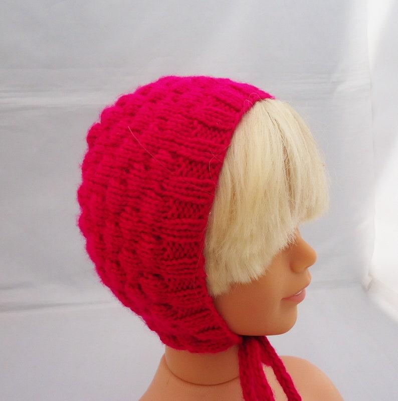 Baby Bonnet in Hot Pink Hand Knit Baby Bonnet Baby Bonnet 3-6 months
