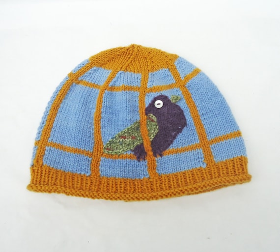 Birdcage Benie Blue and Yellow Women hat Funny handknitted  a355ba006a9