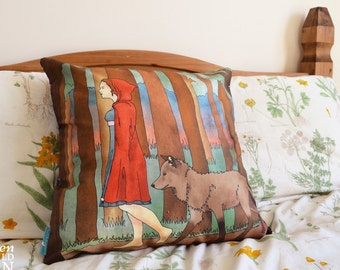 Red Riding Hood Illustration Throw CushionCushion Cover, Throw Cushion, Pillow, Decorative Cushion