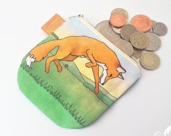 Fox Coin Purse, Handmade Purse, Zip Bag, Make-up Bag, Stocking Filler, Fox Gift