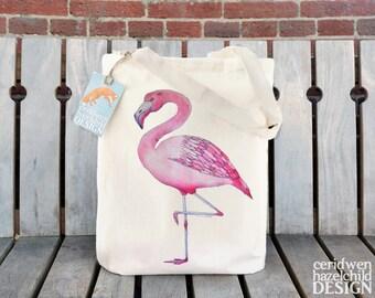 Flamingo Tote Bag, Ethically Produced Shopping Bag, Reusable Shopper Bag, Market Bag, Cotton Tote, Eco Tote Bag, Reusable Grocery Bag,