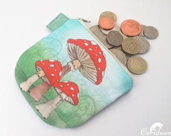 Toadstool Mushrooms Coin Purse, Handmade Purse, Zip Bag, Make-up Bag, Stocking Filler, Mushroom Print