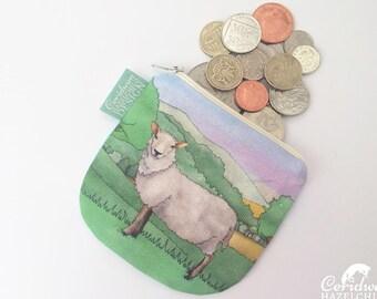 Sheep Coin Purse, Handmade Purse, Zip Bag, Make-up Bag, Stocking Filler, Sheep Gift