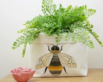 Bee Canvas Storage Box, Storage Solution, Storage Basket, Fabric Basket, Fabric Organiser, Storage Bin, Nursery Storage, Bee Gift