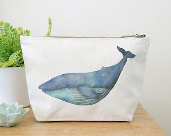 Blue Whale Canvas Wash Bag, Large Zipper Pouch, Makeup Bag, Toiletry Bag, Accessory Bag, Whale Gift