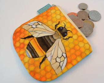 Bee Coin Purse, Handmade Purse, Zip Bag, Make-up Bag, Stocking Filler, Bee Gift