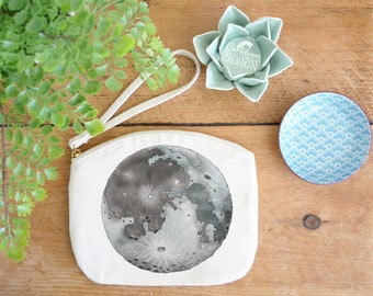 Moon Canvas Zip Bag, Makeup Bag, Coin Purse, Small Accessory Pouch, Stocking Filler
