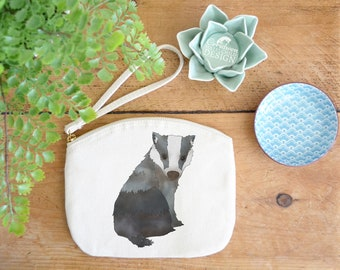 Badger Canvas Zip Bag, Makeup Bag, Coin Purse, Small Accessory Pouch, Stocking Filler, Badger Gift