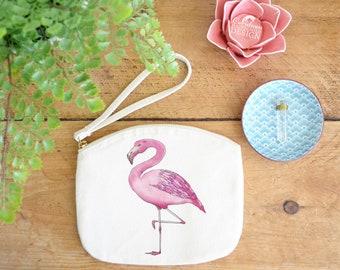 Flamingo Canvas Zip Bag, Makeup Bag, Coin Purse, Small Accessory Pouch, Stocking Filler, Flamingo Gift
