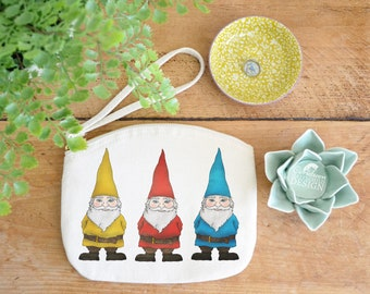 Gnomes Canvas Zip Bag, Makeup Bag, Coin Purse, Small Accessory Pouch, Stocking Filler