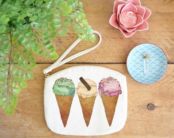 Ice Cream Canvas Zip Bag, Makeup Bag, Coin Purse, Small Accessory Pouch, Stocking Filler