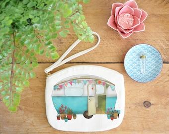 Caravan Canvas Zip Bag, Makeup Bag, Coin Purse, Small Accessory Pouch, Stocking Filler, Caravan Gift