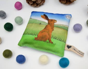 Hare Microwavable Wheat Warmer, Hand Warmer, Heat Pad, Christmas Gift, Hare Gift, Moongazing Hare
