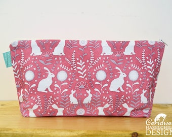 Floral Hares Toiletry Wash Bag / Makeup Bag / Pencil Case / Zip Bag, Hare Gift, Rabbit Lover Gift