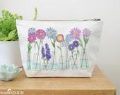 Flowers Canvas Wash Bag, Large Zipper Pouch, Makeup Bag, Toiletry Bag, Accessory Bag