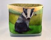 Badger Fabric Storage Box,  Storage Basket, Fabric Basket, Fabric Organiser, Storage Bin, Badger Gift